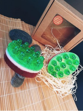 Massage soap with watermelon aroma