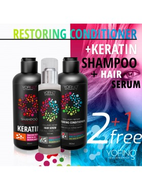 Keratin shampoo and Restoring conditioner + Hair serum for free